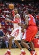 Nov 9, 2013; Houston, TX, USA; Houston Rockets center Dwight Howard (12) controls the ball during the first quarter against the Los Angeles Clippers at Toyota Center. Mandatory Credit: Troy Taormina-USA TODAY Sports