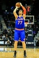 Nov 13, 2013; Atlanta, GA, USA; New York Knicks power forward Andrea Bargnani (77) shoots a three in the first quarter against the Atlanta Hawks at Philips Arena. Mandatory Credit: Daniel Shirey-USA TODAY Sports