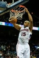 Nov 13, 2013; Atlanta, GA, USA; Atlanta Hawks center Al Horford (15) dunks in the second half against the New York Knicks at Philips Arena. The Knicks won 95-91. Mandatory Credit: Daniel Shirey-USA TODAY Sports