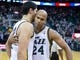 Nov 13, 2013; Salt Lake City, UT, USA; Utah Jazz center Enes Kanter (0) and small forward Richard Jefferson (24) react to defeating the New Orleans Pelicans 111-105 at EnergySolutions Arena. Mandatory Credit: Russ Isabella-USA TODAY Sports