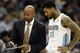 Nov 13, 2013; Denver, CO, USA;  Denver Nuggets head coach Brian Shaw (left) talks with forward Wilson Chandler (21) during the first half against the Los Angeles Lakers at Pepsi Center.  The Nuggets won 111-99.  Mandatory Credit: Chris Humphreys-USA TODAY Sports