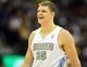Nov 13, 2013; Denver, CO, USA;  Denver Nuggets center Timofey Mozgov (25) reacts during the second half against the Los Angeles Lakers at Pepsi Center.  The Nuggets won 111-99.  Mandatory Credit: Chris Humphreys-USA TODAY Sports