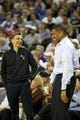 Nov 13, 2013; Sacramento, CA, USA; Sacramento Kings majority owner Vivek Ranadive smiles with Sacramento mayor Kevin Johnson (right) during the third quarter against the Brooklyn Nets at Sleep Train Arena. The Sacramento Kings defeated the Brooklyn Nets 107-86. Mandatory Credit: Kelley L Cox-USA TODAY Sports