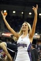 Nov 13, 2013; Sacramento, CA, USA; Sacramento Kings dancer throws out miniature basketballs during a timeout against the Brooklyn Nets during the fourth quarter at Sleep Train Arena. The Sacramento Kings defeated the Brooklyn Nets 107-86. Mandatory Credit: Kelley L Cox-USA TODAY Sports