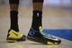 Nov 13, 2013; Los Angeles, CA, USA; General view of the Nike shoes of Oklahoma City Thunder forward Kevin Durant during the game against the Los Angeles Clippers at Staples Center.  Mandatory Credit: Kirby Lee-USA TODAY Sports