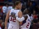 Nov 13, 2013; Los Angeles, CA, USA; Los Angeles Clippers forward Blake Griffin (32) and guard Darren Collison (2) embrace at the end of the game against the Oklahoma City Thunder at Staples Center. The Clippers defeated the Thunder 111-103. Mandatory Credit: Kirby Lee-USA TODAY Sports
