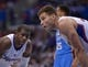 Nov 13, 2013; Los Angeles, CA, USA; Los Angeles Clippers forward Blake Griffin (32) and guard Chris Paul (3) during the game against the Oklahoma City Thunder at Staples Center. The Clippers defeated the Thunder 111-103. Mandatory Credit: Kirby Lee-USA TODAY Sports