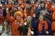 Nov 14, 2013; Clemson, SC, USA; Clemson Tigers fans during the third quarter against the Georgia Tech Yellow Jackets at Clemson Memorial Stadium. Clemson won 55-31. Mandatory Credit: Joshua S. Kelly-USA TODAY Sports