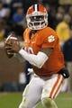 Nov 14, 2013; Clemson, SC, USA; Clemson Tigers quarterback Tajh Boyd (10) passes the ball during the third quarter at Clemson Memorial Stadium. Clemson won 55-31. Mandatory Credit: Joshua S. Kelly-USA TODAY Sports