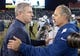 Nov 14, 2013; Nashville, TN, USA; Tennessee Titans coach Mike Munchak (left) and Indianapolis Colts coach Chuck Pagano shake hands after the game at LP Field. The Colts defeated the Titans 30-27. Mandatory Credit: Kirby Lee-USA TODAY Sports