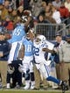 Nov 14, 2013; Nashville, TN, USA; Tennessee Titans receiver Justin Hunter (15) is defended by Indianapolis Colts cornerback Cassius Vaughn (32) at LP Field. The Colts defeated the Titans 30-27. Mandatory Credit: Kirby Lee-USA TODAY Sports