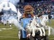 Nov 14, 2013; Nashville, TN, USA; Tennessee Titans mascot T-Rac leads players onto the field before the game against the Indianapolis Colts at LP Field. Mandatory Credit: Kirby Lee-USA TODAY Sports