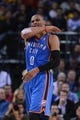 November 14, 2013; Oakland, CA, USA; Oklahoma City Thunder point guard Russell Westbrook (0) reacts after being fouled during the third quarter against the Golden State Warriors at Oracle Arena. The Warriors defeated the Thunder 116-115. Mandatory Credit: Kyle Terada-USA TODAY Sports