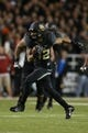 Nov 7, 2013; Waco, TX, USA; Baylor Bears receiver Levi Norwood (42) runs with the ball against the Oklahoma Sooners at Floyd Casey Stadium. Mandatory Credit: Matthew Emmons-USA TODAY Sports