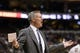 Nov 13, 2013; Philadelphia, PA, USA; Philadelphia 76ers head coach Brett Brown during the fourth quarter against the Houston Rockets at Wells Fargo Center. The Sixers defeated the Rockets 123-117. Mandatory Credit: Howard Smith-USA TODAY Sports