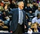 Nov 15, 2013; Atlanta, GA, USA; Philadelphia 76ers head coach Brett Brown calls to his players in the first quarter against the Atlanta Hawks at Philips Arena. Mandatory Credit: Daniel Shirey-USA TODAY Sports