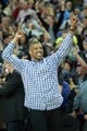 Nov 15, 2013; Sacramento, CA, USA; Sacramento mayor Kevin Johnson raises his arms after the crowd at Sleep Train Arena broke the Guinness world record for loudest indoor crowd roar. Mandatory Credit: Ed Szczepanski-USA TODAY Sports