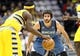 Nov 15, 2013; Denver, CO, USA; Minnesota Timberwolves point guard Ricky Rubio (9) guards Denver Nuggets point guard Ty Lawson (3) in the third quarter at the Pepsi Center. The Nuggets won 117-113. Mandatory Credit: Isaiah J. Downing-USA TODAY Sports