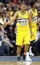 Nov 15, 2013; Denver, CO, USA; Denver Nuggets point guard Andre Miller (24) reacts to a play in the fourth quarter against the Minnesota Timberwolves at the Pepsi Center. The Nuggets won 117-113. Mandatory Credit: Isaiah J. Downing-USA TODAY Sports