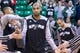 Nov 15, 2013; Salt Lake City, UT, USA; San Antonio Spurs power forward Tim Duncan (21) is introduced prior to a game against the Utah Jazz at EnergySolutions Arena. San Antonio won 91-82. Mandatory Credit: Russ Isabella-USA TODAY Sports