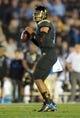 Nov 15, 2013; Pasadena, CA, USA; UCLA Bruins quarterback Brett Hundley (17) throws a pass against the Washington Huskies at Rose Bowl. Mandatory Credit: Kirby Lee-USA TODAY Sports