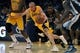 Nov 15, 2013; Los Angeles, CA, USA; Los Angeles Lakers guard Steve Blake (5) drives the ball against the Memphis Grizzlies during the third quarter at Staples Center. The Memphis Grizzlies defeated the Los Angeles Lakers 89-86. Mandatory Credit: Kelvin Kuo-USA TODAY Sports