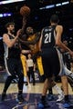 Nov 15, 2013; Los Angeles, CA, USA; Los Angeles Lakers center Jordan Hill (27) is fouled while attempting a shot against the Memphis Grizzlies during the third quarter at Staples Center. The Memphis Grizzlies defeated the Los Angeles Lakers 89-86. Mandatory Credit: Kelvin Kuo-USA TODAY Sports
