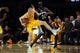 Nov 15, 2013; Los Angeles, CA, USA; Los Angeles Lakers guard Steve Blake (5) steals the ball from Memphis Grizzlies forward Quincy Pondexter (20) during the fourth quarter at Staples Center. The Memphis Grizzlies defeated the Los Angeles Lakers 89-86. Mandatory Credit: Kelvin Kuo-USA TODAY Sports