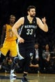Nov 15, 2013; Los Angeles, CA, USA; Memphis Grizzlies center Marc Gasol (33) celebrates after making a shot against the Los Angeles Lakers during the third quarter at Staples Center. The Memphis Grizzlies defeated the Los Angeles Lakers 89-86. Mandatory Credit: Kelvin Kuo-USA TODAY Sports