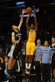 Nov 15, 2013; Los Angeles, CA, USA; Los Angeles Lakers guard Nick Young (0) attempts a three point shot defended by Memphis Grizzlies forward Tayshaun Prince (21) during the third quarter at Staples Center. The Memphis Grizzlies defeated the Los Angeles Lakers 89-86. Mandatory Credit: Kelvin Kuo-USA TODAY Sports
