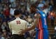 Nov 15, 2013; Sacramento, CA, USA; Detroit Pistons shooting guard Rodney Stuckey (3) argues a call with official Bill Kennedy during the third quarter at Sleep Train Arena. The Detroit Pistons defeated the Sacramento Kings 97-90. Mandatory Credit: Ed Szczepanski-USA TODAY Sports