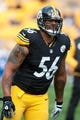 Nov 10, 2013; Pittsburgh, PA, USA; Pittsburgh Steelers outside linebacker LaMarr Woodley (56) warms up prior to a game against the Buffalo Bills at Heinz Field. Mandatory Credit: Mark Konezny-USA TODAY Sports