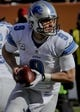 Nov 10, 2013; Chicago, IL, USA;  Detroit Lions quarterback Matthew Stafford (9) during the game against the Bears at Soldier Field. Mandatory Credit: Matt Marton-USA TODAY Sports