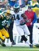 Nov 10, 2013; Green Bay, WI, USA; Philadelphia Eagles running back Bryce Brown (34) during the game against the Green Bay Packers at Lambeau Field.  Philadelphia won 27-13.  Mandatory Credit: Jeff Hanisch-USA TODAY Sports