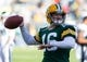 Nov 10, 2013; Green Bay, WI, USA; Green Bay Packers quarterback Scott Tolzien (16) during warmups prior to the game against the Philadelphia Eagles at Lambeau Field.  Philadelphia won 27-13.  Mandatory Credit: Jeff Hanisch-USA TODAY Sports