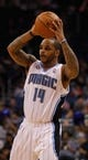 Nov 3, 2013; Orlando, FL, USA; Orlando Magic point guard Jameer Nelson (14) against the Brooklyn Nets during the second half at Amway Center. Mandatory Credit: Kim Klement-USA TODAY Sports