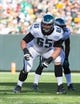 Nov 10, 2013; Green Bay, WI, USA; Philadelphia Eagles offensive tackle Lane Johnson (65) during the game against the Green Bay Packers at Lambeau Field.  Philadelphia won 27-13.  Mandatory Credit: Jeff Hanisch-USA TODAY Sports