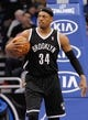 Nov 3, 2013; Orlando, FL, USA; Brooklyn Nets small forward Paul Pierce (34) against the Orlando Magic during the second quarter at Amway Center. Mandatory Credit: Kim Klement-USA TODAY Sports