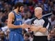 Nov 11, 2013; Los Angeles, CA, USA; Minnesota Timberwolves guard Ricky Rubio (9) talks with referee Joey Crawford during the game against the Los Angeles Clippers at Staples Center. The Clippers defeated the Timberwolves 109-107. Mandatory Credit: Kirby Lee-USA TODAY Sports