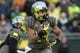 Nov 16, 2013; Eugene, OR, USA; Oregon Ducks running back Thomas Tyner (24) runs with the ball in the second half against the Utah Utes at Autzen Stadium. The Ducks won 44-21. Mandatory Credit: Scott Olmos-USA TODAY Sports
