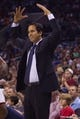 Nov 16, 2013; Charlotte, NC, USA;  Miami Heat head coach Erik Spoelstra reacts to a call during the first half against the Charlotte Bobcats at Time Warner Cable Arena. Mandatory Credit: Jeremy Brevard-USA TODAY Sports