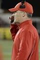 Nov 16, 2013; Louisville, KY, USA; Houston Cougars head coach Tony Levine stands on the sideline during the second quarter against the Louisville Cardinals at Papa John's Cardinal Stadium. Mandatory Credit: Jamie Rhodes-USA TODAY Sports