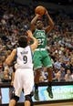 Nov 16, 2013; Minneapolis, MN, USA; Boston Celtics shooting guard Jordan Crawford (27) goes up for a shot over Minnesota Timberwolves point guard Ricky Rubio (9) in the first half at Target Center. Mandatory Credit: Jesse Johnson-USA TODAY Sports