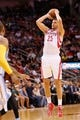 Nov 16, 2013; Houston, TX, USA; Houston Rockets forward Chandler Parsons (25) shoots during the first half against the Denver Nuggets at Toyota Center. Mandatory Credit: Soobum Im-USA TODAY Sports