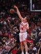 Nov 16, 2013; Chicago, IL, USA; Chicago Bulls small forward Mike Dunleavy (34) blocks the shot of Indiana Pacers center Ian Mahinmi (28) during the second quarter at  the United Center. Mandatory Credit: Dennis Wierzbicki-USA TODAY Sports