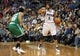 Nov 16, 2013; Minneapolis, MN, USA; Minnesota Timberwolves point guard Ricky Rubio (9) calls out a play as Boston Celtics point guard Phil Pressey (26) plays defense in the second half at Target Center. The TImberwolves won 106-88. Mandatory Credit: Jesse Johnson-USA TODAY Sports