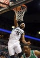 Nov 16, 2013; Minneapolis, MN, USA; Minnesota Timberwolves small forward Corey Brewer (13) dunks the ball in the second half against the Boston Celtics at Target Center. The TImberwolves won 106-88. Mandatory Credit: Jesse Johnson-USA TODAY Sports