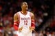 Nov 16, 2013; Houston, TX, USA; Houston Rockets center Dwight Howard (12) reacts during the second half against the Denver Nuggets at Toyota Center. The Rockets won 122-111. Mandatory Credit: Soobum Im-USA TODAY Sports