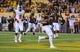 Nov 16, 2013; Tempe, AZ, USA; Arizona State Sun Devils running back D.J. Foster (8) scores an 8 yard touchdown in the second quarter against the Oregon State Beavers at Sun Devil Stadium. Mandatory Credit: Jennifer Stewart-USA TODAY Sports