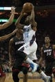Nov 16, 2013; Charlotte, NC, USA;  Charlotte Bobcats point guard Kemba Walker (15) goes up for a shot against the Miami Heat during the second half at Time Warner Cable Arena. Miami defeated Charlotte 97-81. Mandatory Credit: Jeremy Brevard-USA TODAY Sports